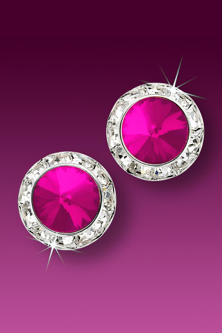 15mm Rhinestone Dance Earrings - Hot Pink Pierced