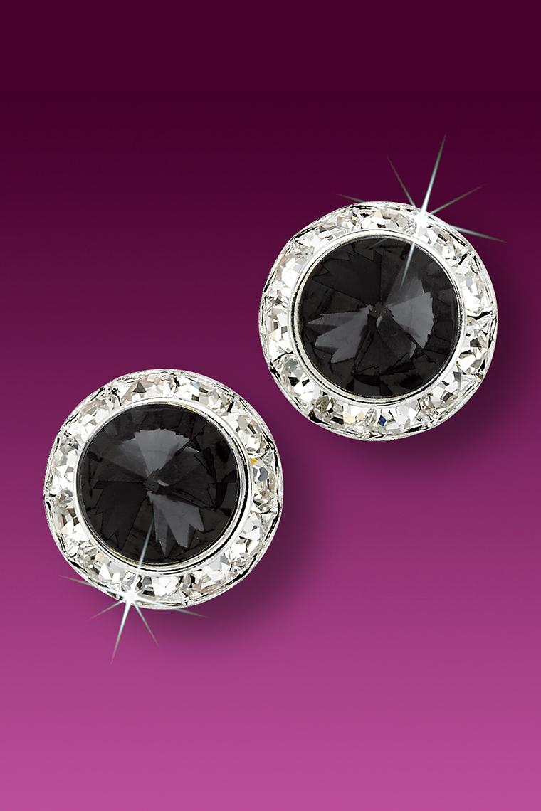 15mm Rhinestone Dance Earrings - Black Pierced