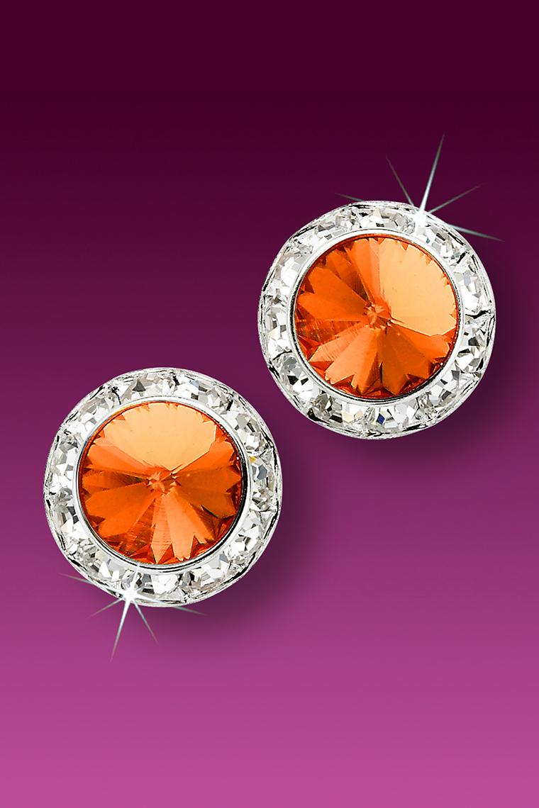 15mm Rhinestone Dance Earrings - Orange Pierced
