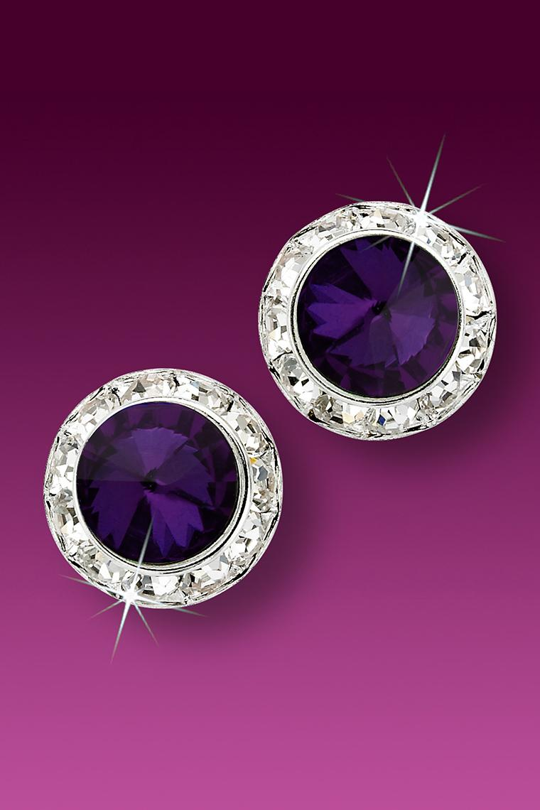 15mm Rhinestone Dance Earrings - Dark Purple Pierced