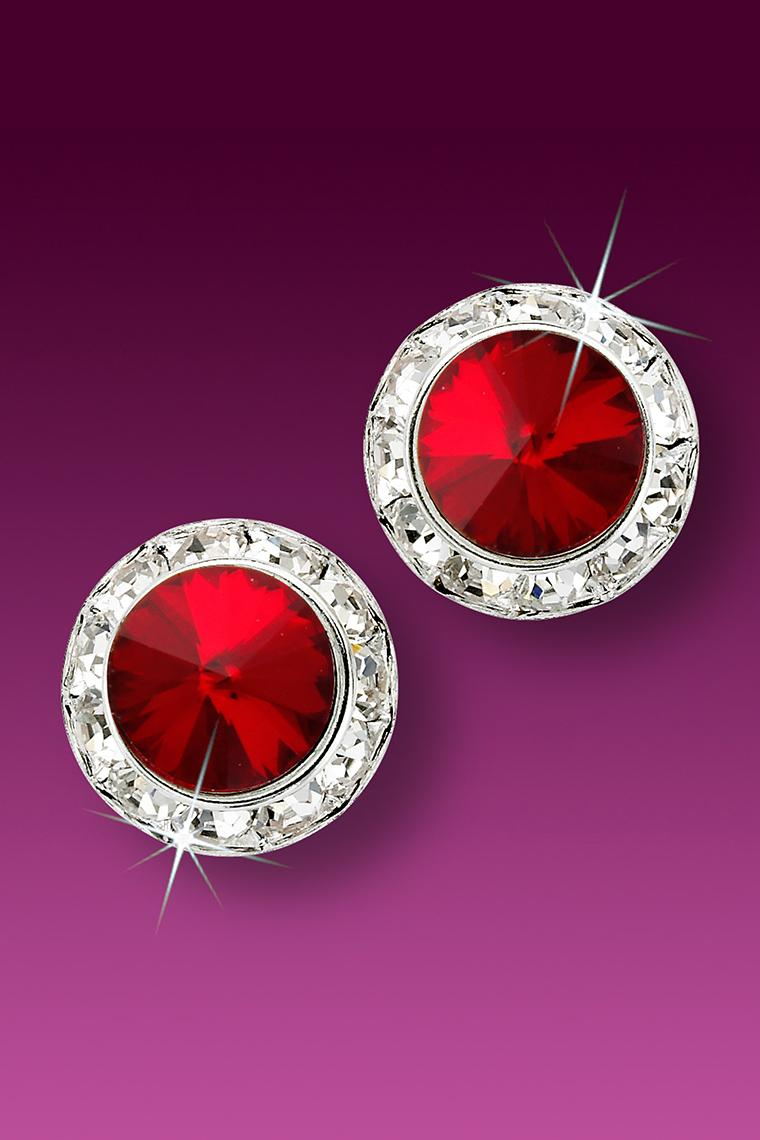 15mm Rhinestone Dance Earrings - Red Pierced