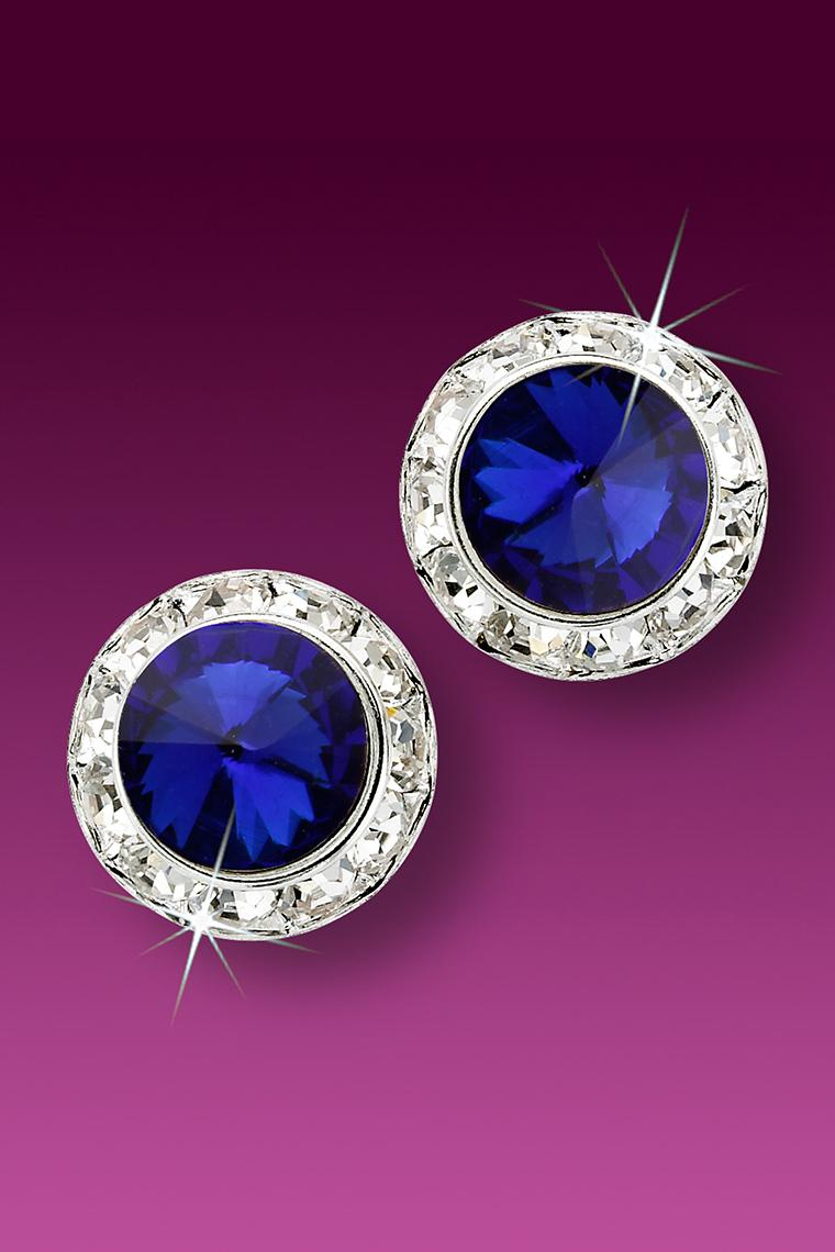 15mm Rhinestone Dance Earrings - Dark Blue Pierced