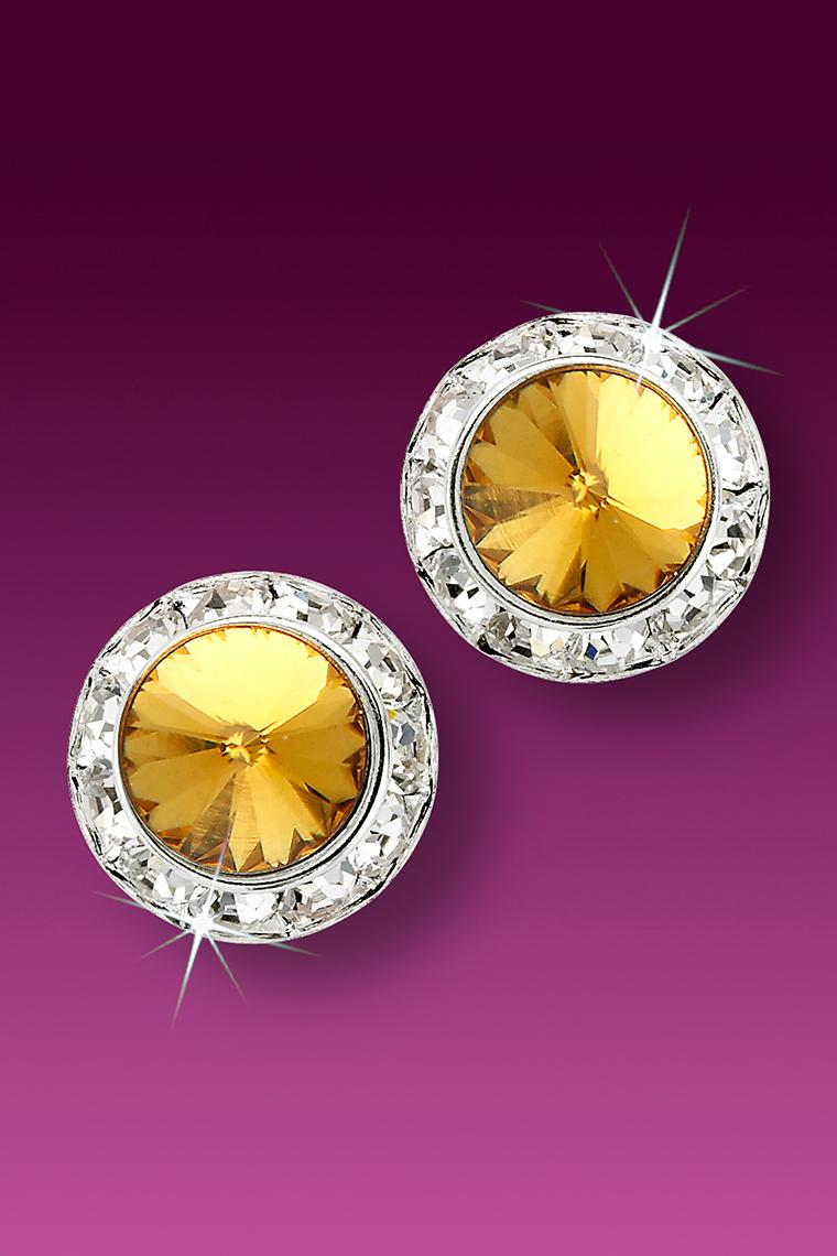 15mm Rhinestone Dance Earrings - Gold Pierced