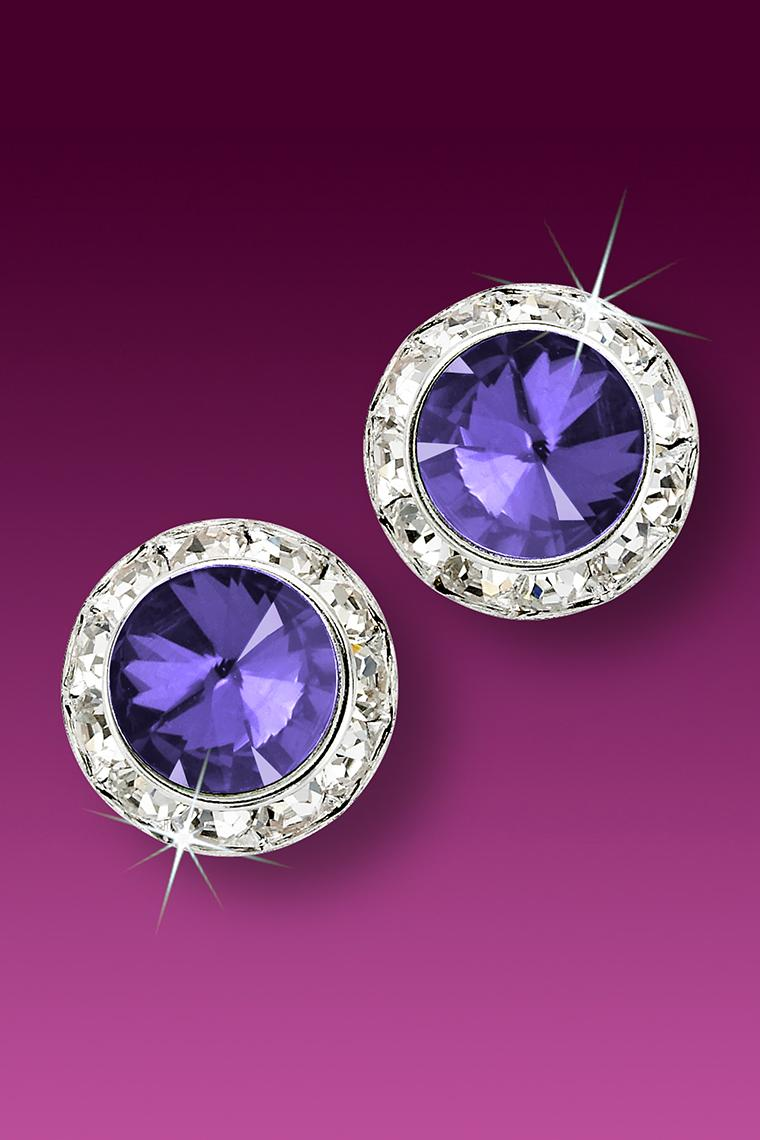 15mm Rhinestone Dance Earrings - Medium Purple Pierced