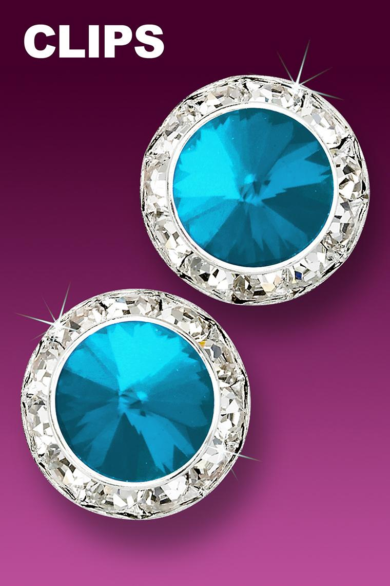 20mm Rhinestone Dance Earrings - Bright Blue Clip-On