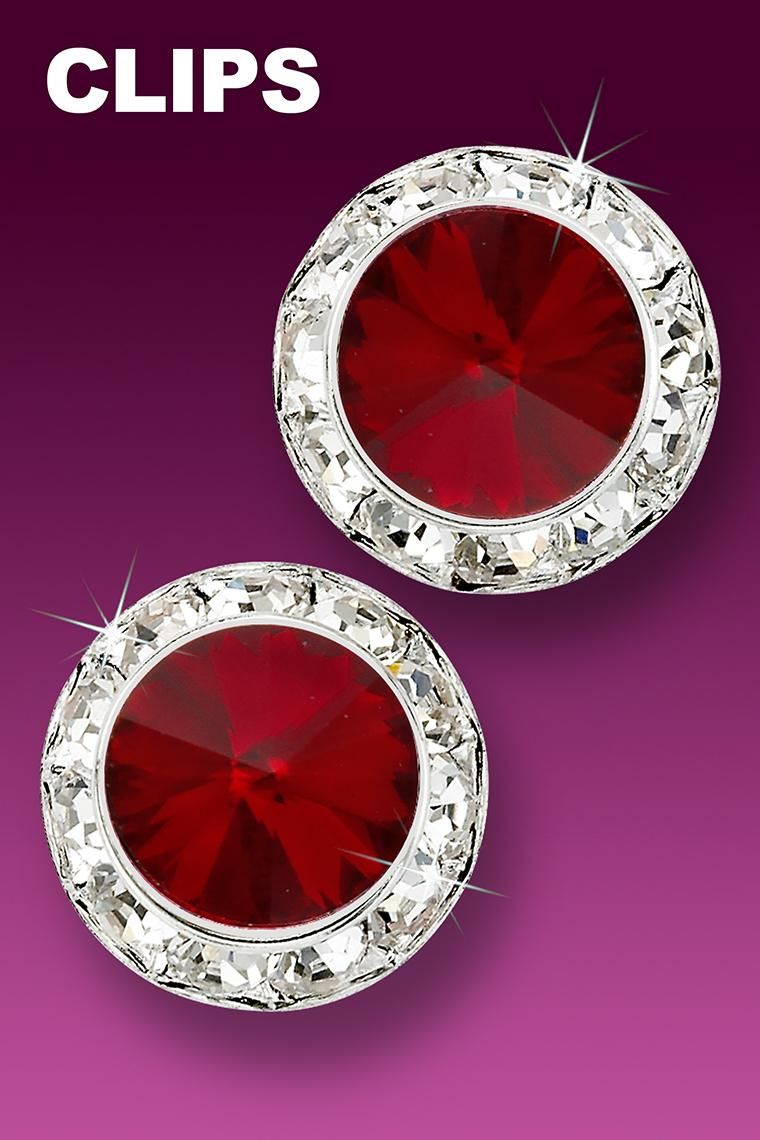 20mm Rhinestone Dance Earrings - Crimson Clip-On