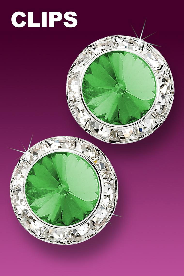 20mm Rhinestone Dance Earrings - Light Green Clip-On
