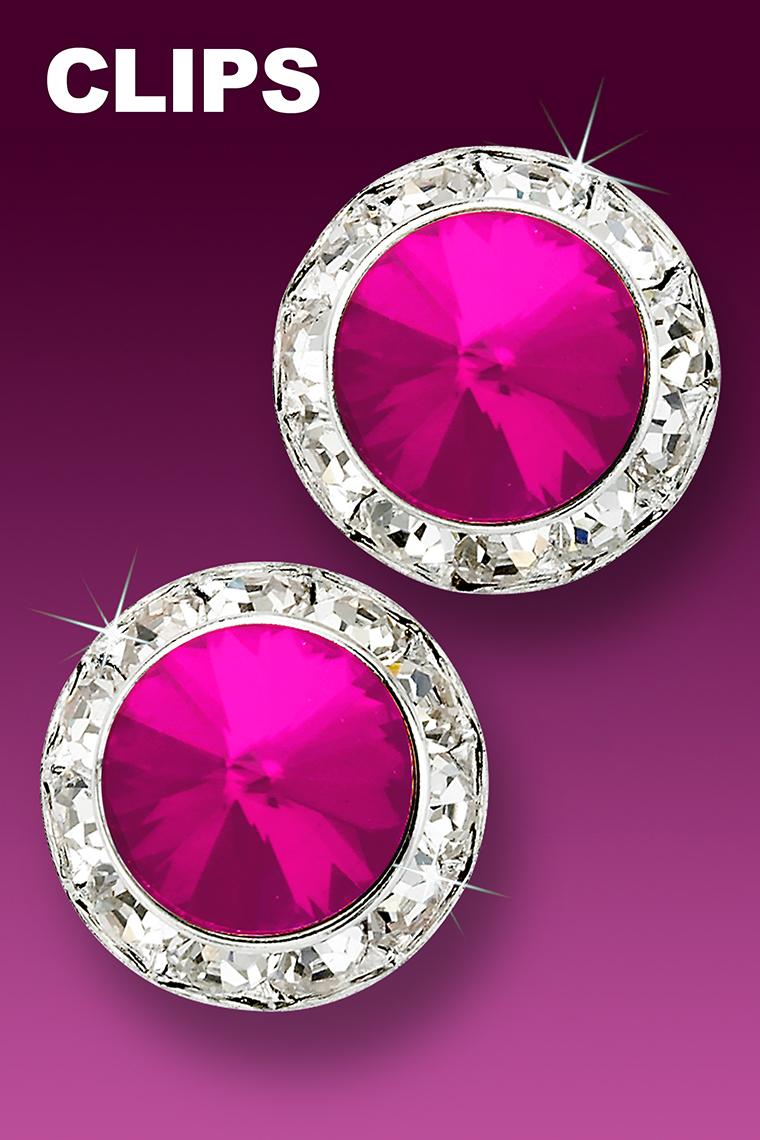 20mm Rhinestone Dance Earrings - Hot Pink Clip-On