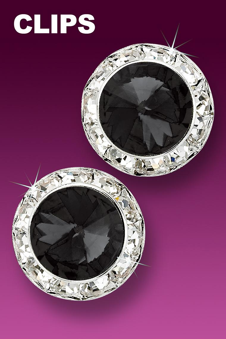 20mm Rhinestone Dance Earrings - Black Clip-On