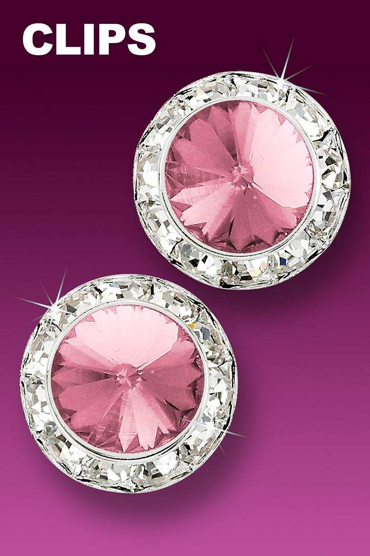 Awareness 20mm Rhinestone Earrings - Light Pink Clip-On
