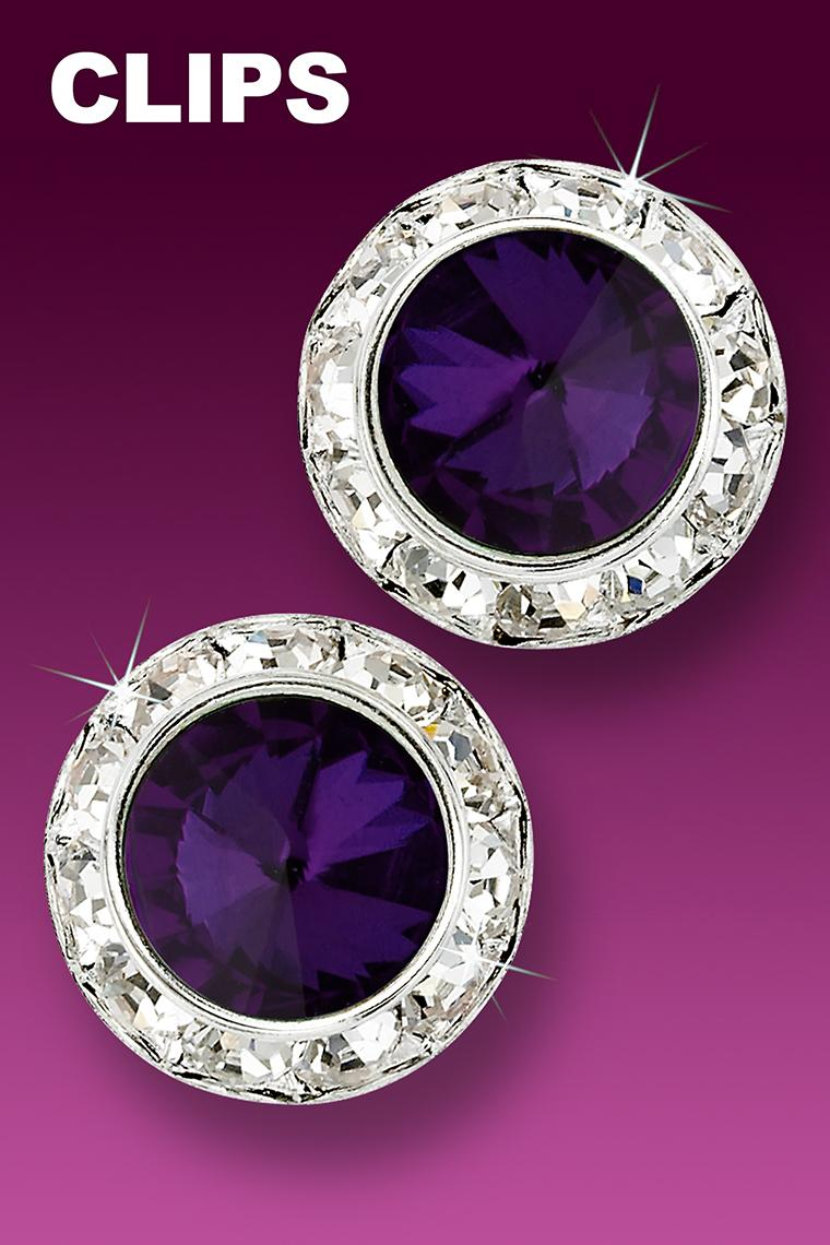 20mm Rhinestone Dance Earrings - Dark Purple Clip-On