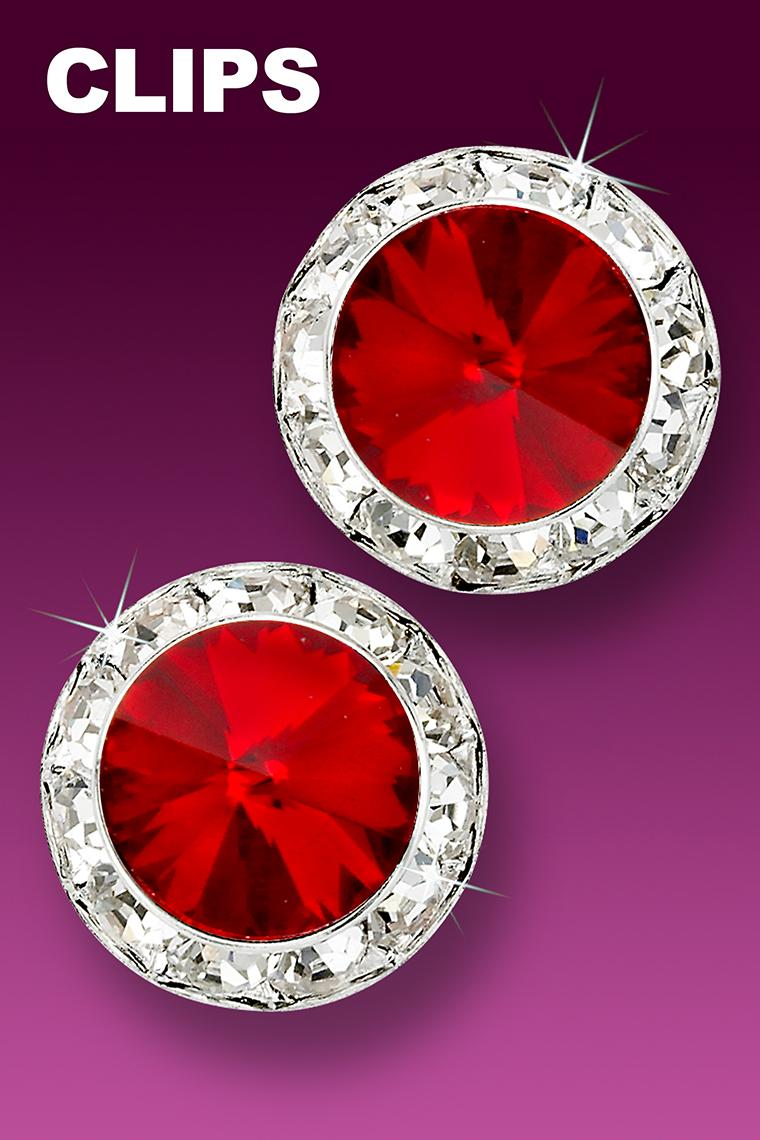 20mm Rhinestone Dance Earrings - Red Clip-On