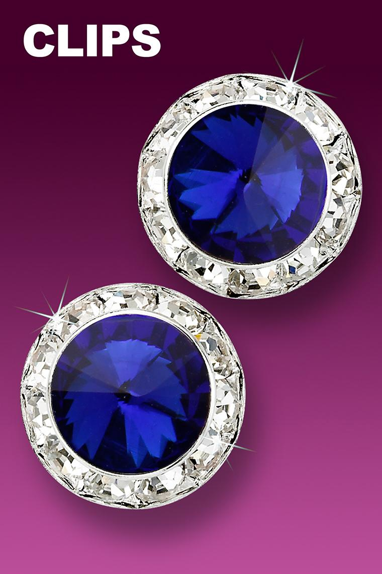 20mm Rhinestone Dance Earrings - Dark Blue Clip-On