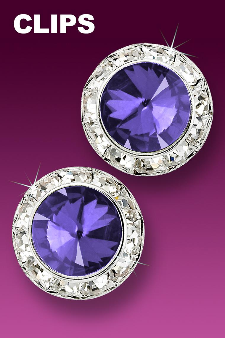 20mm Rhinestone Dance Earrings - Medium Purple Clip-On