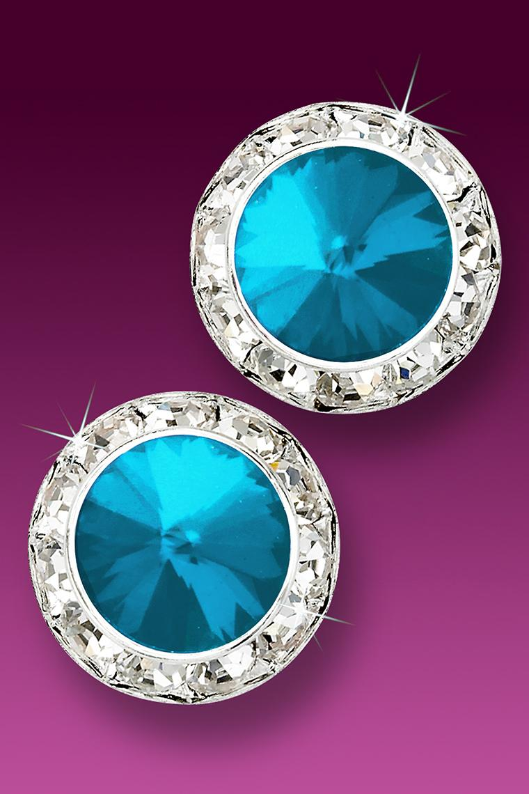 20mm Rhinestone Dance Earrings - Bright Blue Pierced
