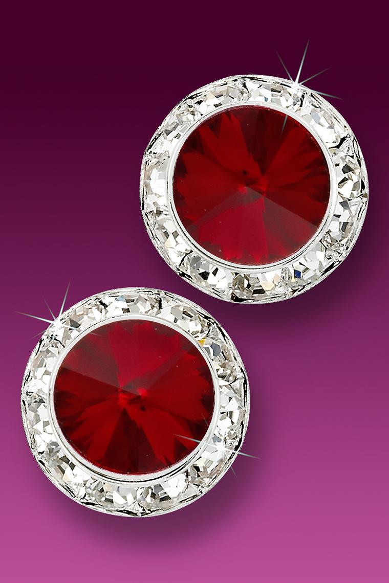 20mm Rhinestone Dance Earrings - Crimson Pierced
