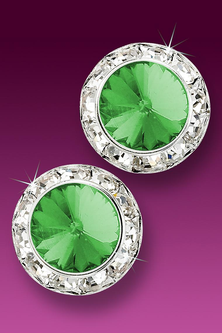 20mm Rhinestone Dance Earrings - Light Green Pierced