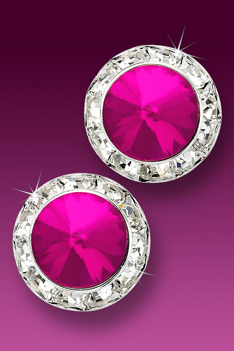 20mm Rhinestone Dance Earrings - Hot Pink Pierced