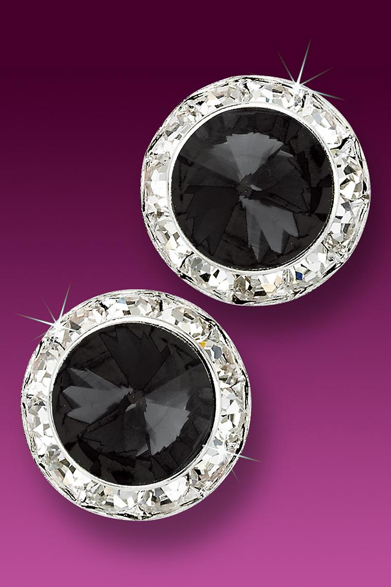 20mm Rhinestone Dance Earrings - Black Pierced