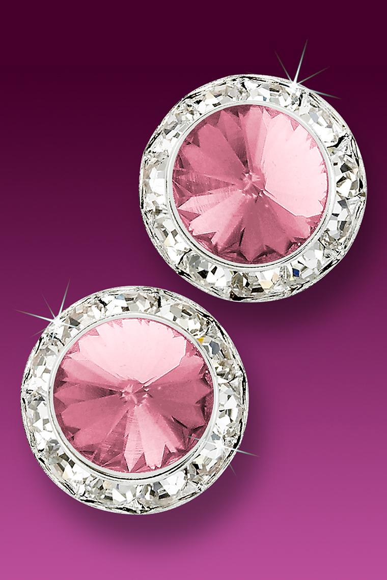 Awareness 20mm Rhinestone Earrings - Light Pink Pierced