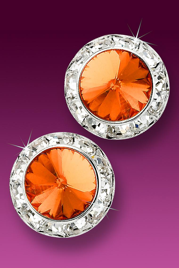 20mm Rhinestone Dance Earrings - Orange Pierced