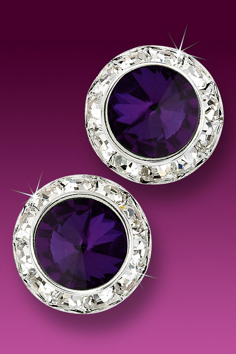 20mm Rhinestone Dance Earrings - Dark Purple Pierced