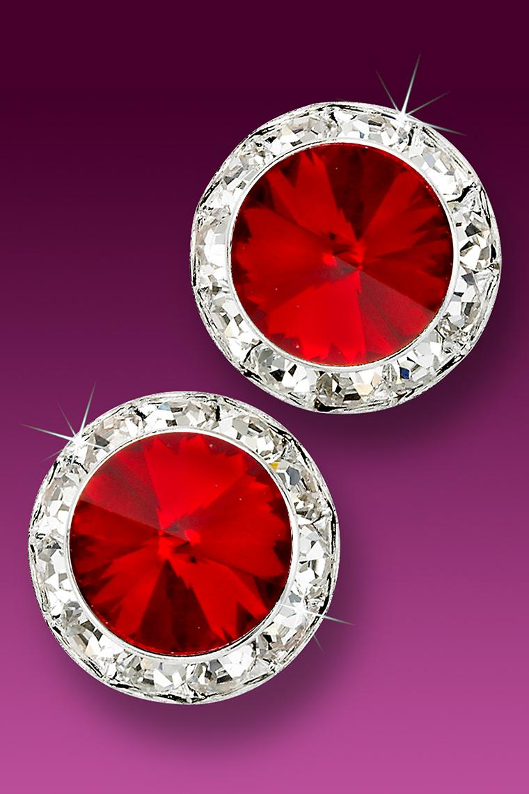 20mm Rhinestone Dance Earrings - Red Pierced