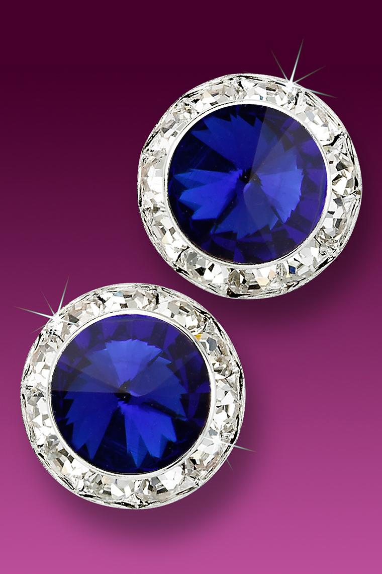 20mm Rhinestone Dance Earrings - Dark Blue Pierced