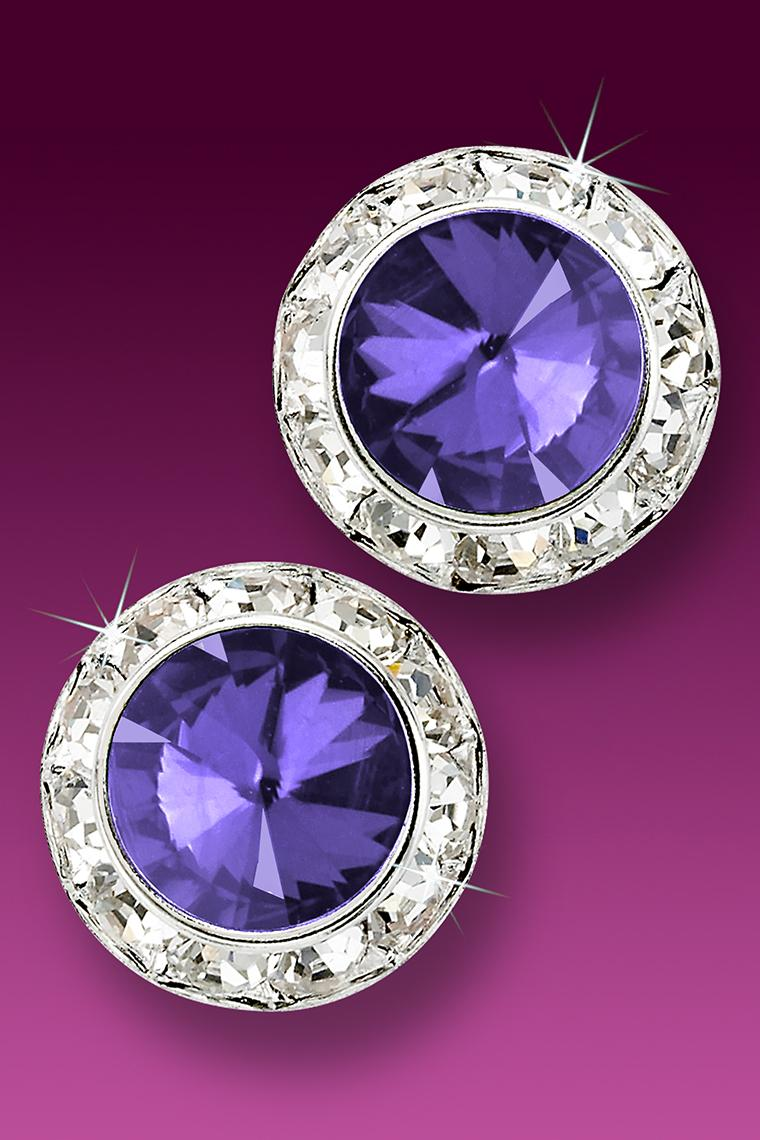 20mm Rhinestone Dance Earrings - Medium Purple Pierced