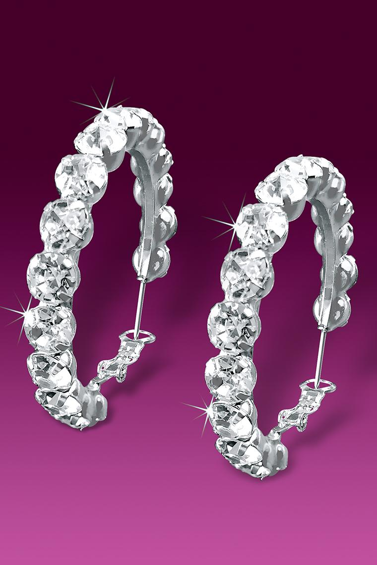 Big And Bold Rhinestone Hoop Earrings - Crystal Pierced