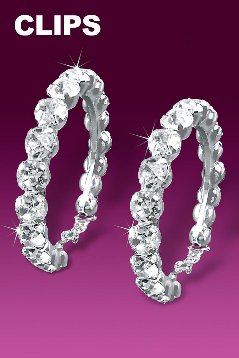 Big And Bold Rhinestone Hoop Earrings - Crystal Clip-On