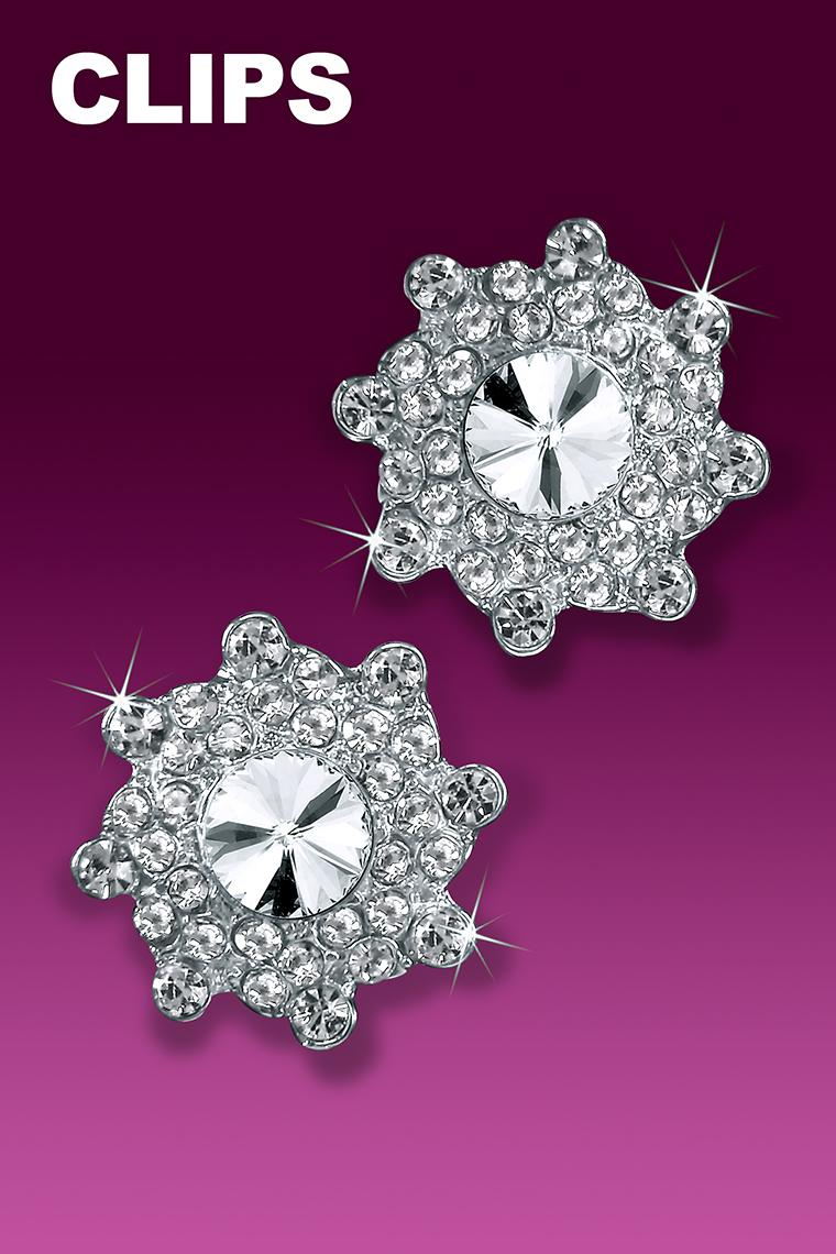 Go Glam Rhinestone Dance Earrings - Crystal Clip-On