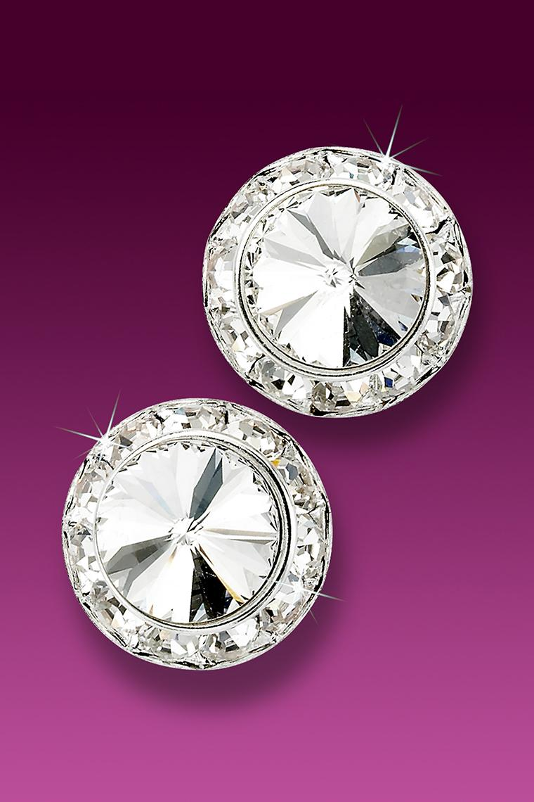 17mm Rhinestone Dance Earrings - Crystal Pierced