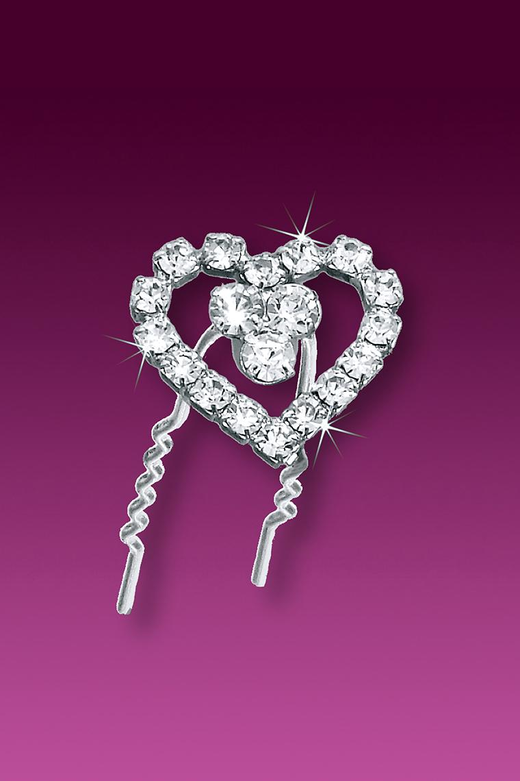 3-Piece Fancy Heart Crystal Rhinestone Hair Pins