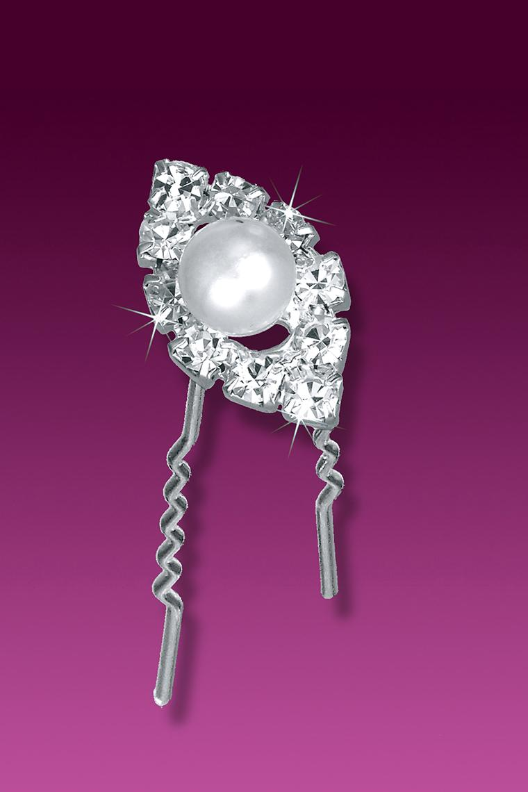 3-Piece Marquis Shaped Pearl and Rhinestone Hair Pins
