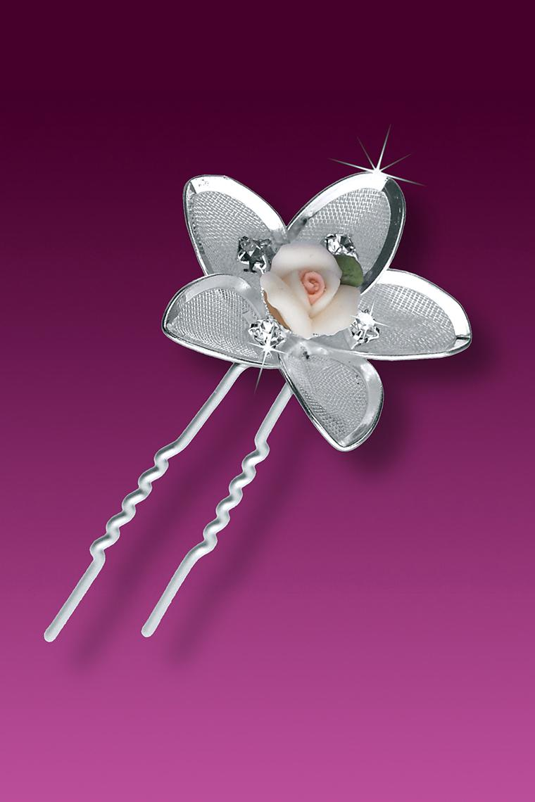 3-Piece Crystal with Enamel Rose Bridal Hair Pins