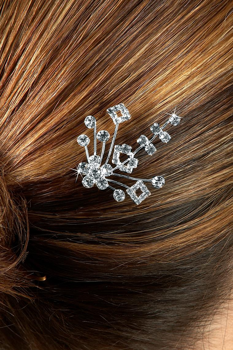 Floral Bouquet Crystal Rhinestone Hair Pin