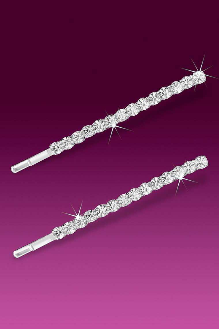 A Row of Crystal Rhinestones Bobby Hair Pins