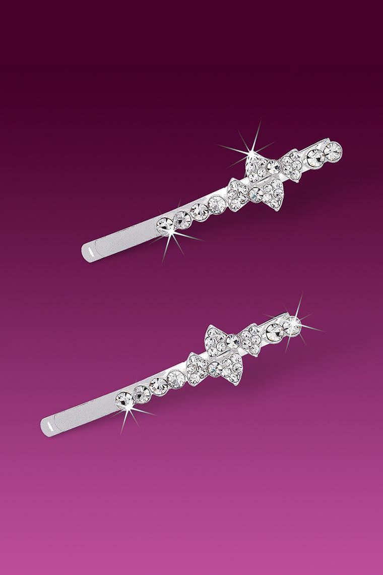 Adorable Double Bows Crystal Rhinestone Bobby Pins