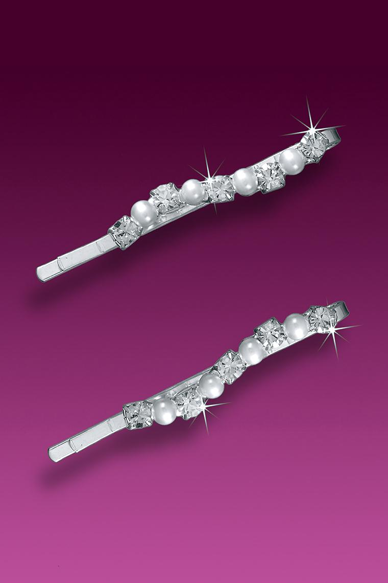Pearl and Crystal Rhinestone Bridal Bobby Pins