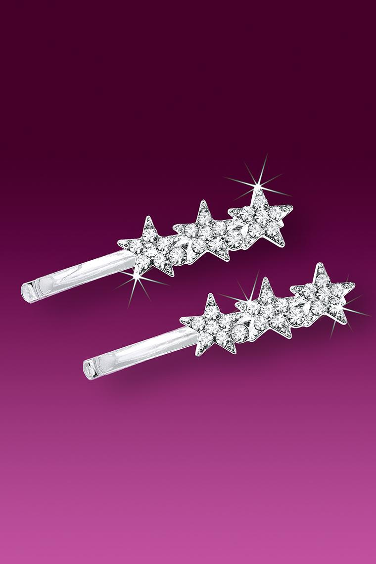 Triple Shining Star Crystal Rhinestone Bobby Pin
