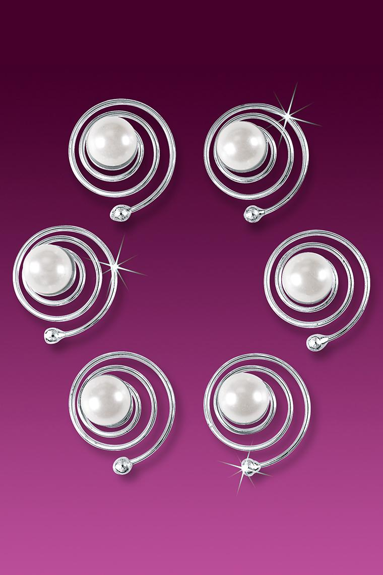 6-Piece Single Pearl Hair Coils