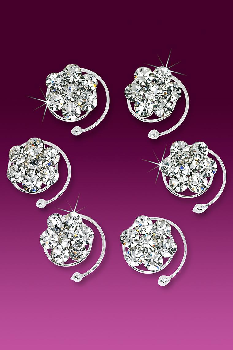 6-Piece Flower Power Crystal Rhinestone Hair Coils