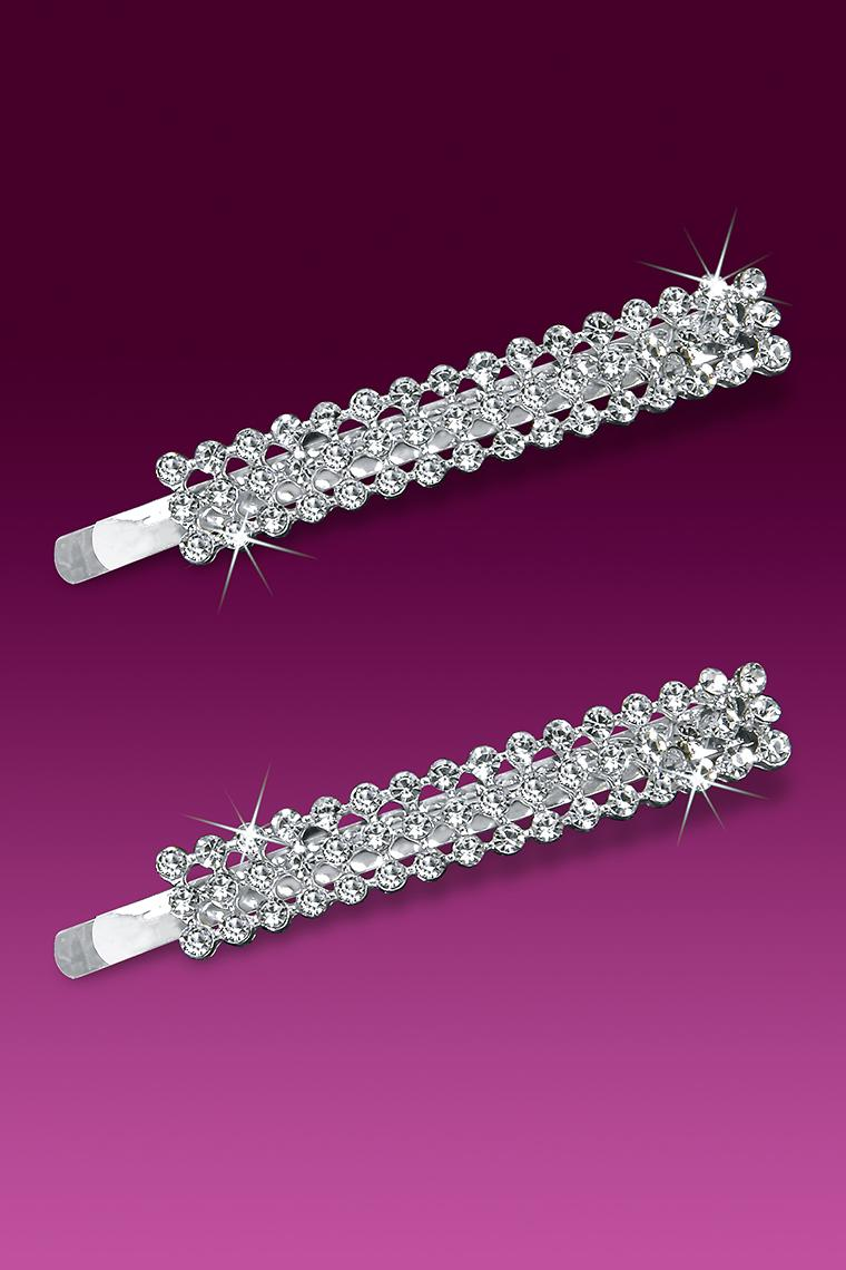 3-Row Rhinestone Bobby Pin Barrette - Crystal