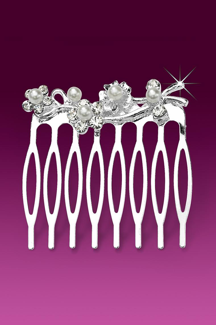 Crystal Rhinestone and Pearl Flowered Hair Comb