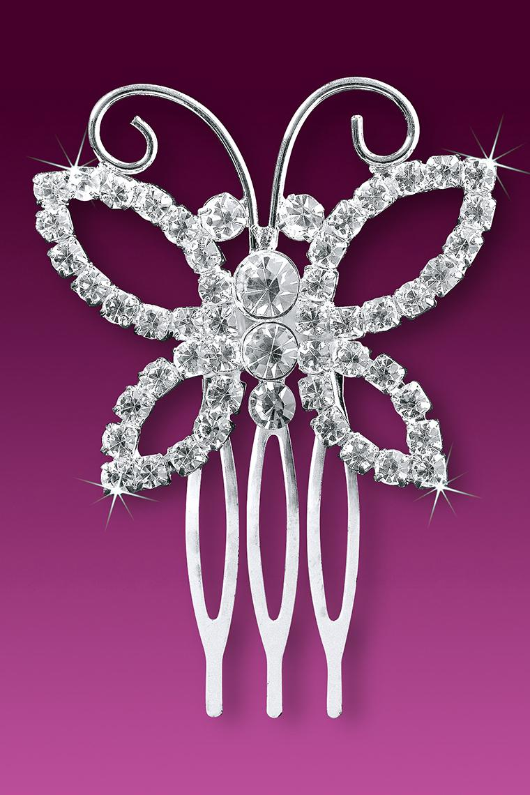 Beautiful Butterfly Crystal Rhinestone Hair Comb