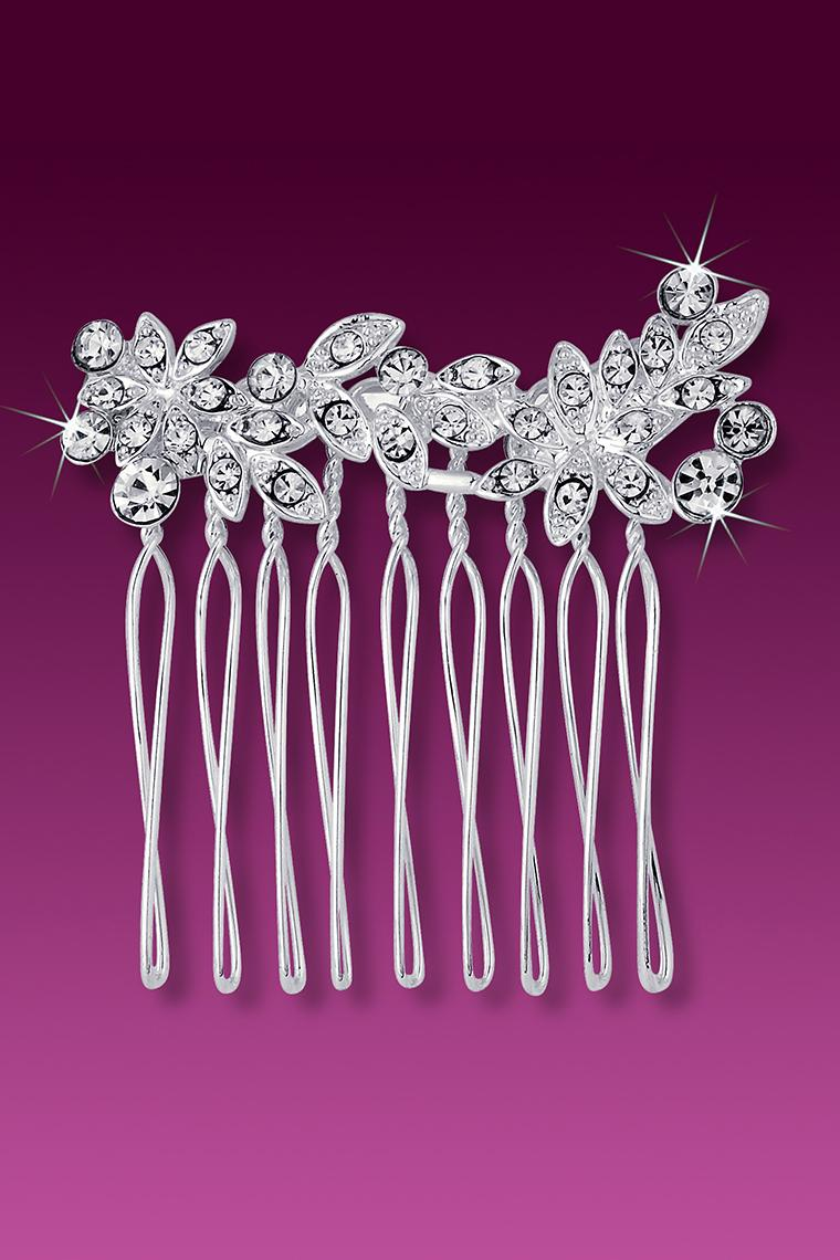 Delicate Crystal Rhinestone Small Floral Hair Comb