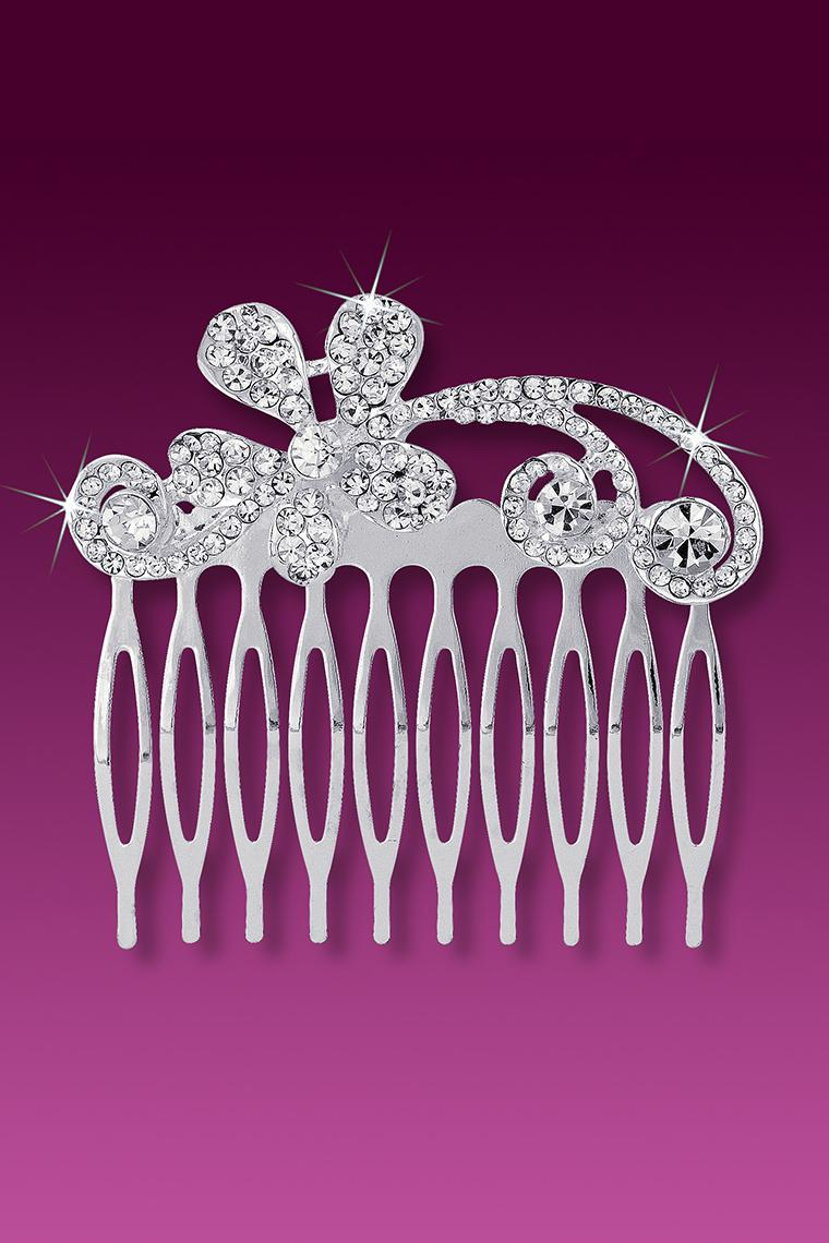 Flower Swirl Large Crystal Rhinestone Hair Comb