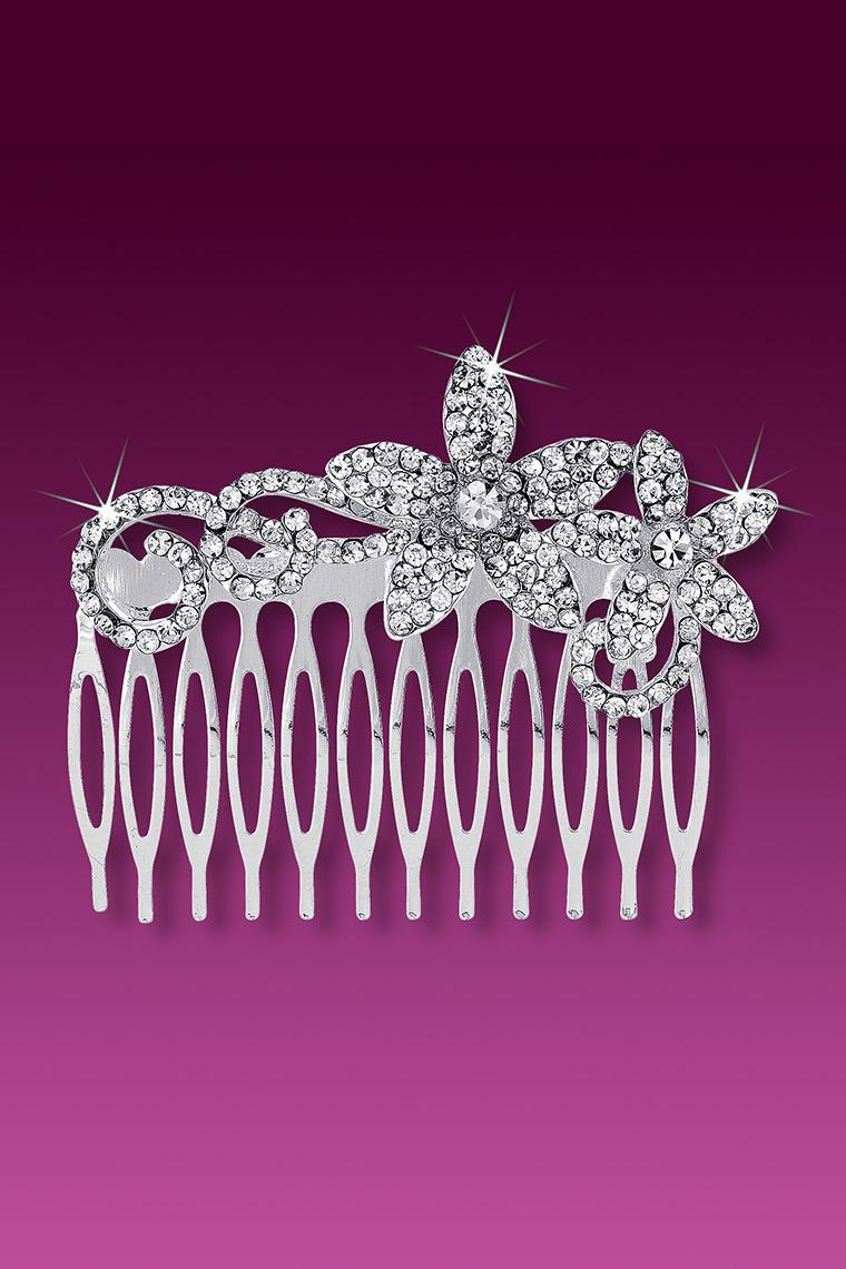Double Flower Large Crystal Rhinestone Hair Comb