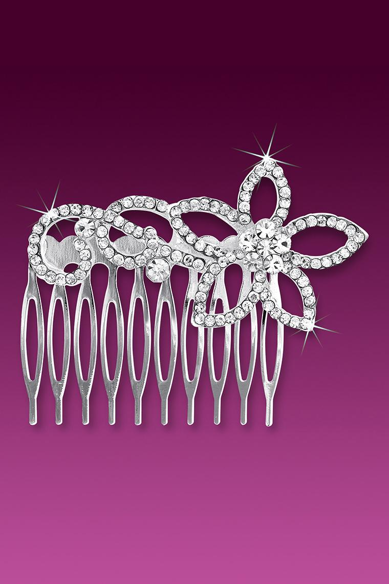 Open Flower Large Crystal Rhinestone Hair Comb